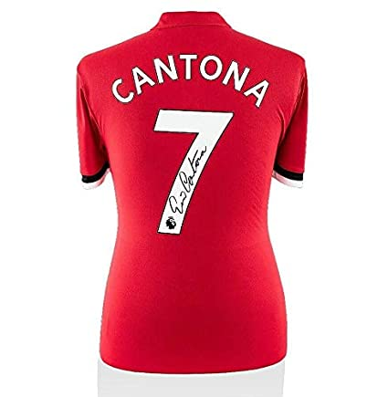 c911a17a6e6 Eric Cantona Signed Manchester United Shirt - Modern Number 7 Autograph -  Autographed Soccer Jerseys at Amazon s Sports Collectibles Store