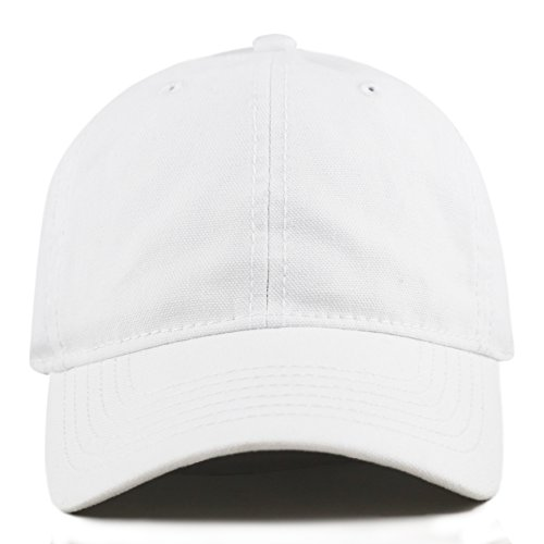 THE HAT DEPOT 100% Cotton Canvas 6-Panel Low-Profile Adjustable Dad Baseball Cap (White) - 100% Cotton Cap
