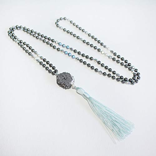 - Swarovski Crystal Dark Grey & Iridescent blue Pearls, Silver Druzy & Faceted Preciosa Czech Fire-Polished Glass Beads Silk Tassel Necklace