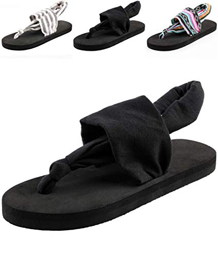 Donpapa Womens Flat Sandals Flip Flops Yoga Sling Casual Thong Slippers Black