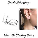 Double Lobe Hoop Earrings Ball End Hoops Fine 999 PURE Sterling Silver 20G 18G 16G Set of 2 - Two Hole Piercing Hoops Unique Jewelry