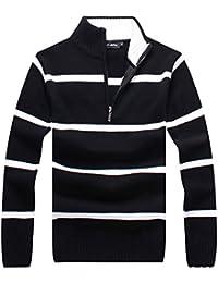 Men's Slim Stripe Half-Zip Stand Collar Pullover Sweater