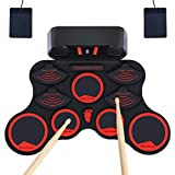 Electronic Drum Set,JEVDES Portable Electronic Drum Kit for Beginners,Sensitive Drum Practice Kit with 9 Pads Electric Drum,Practice Drum Pad with Headphone Jack,Built-in Speaker,Battery