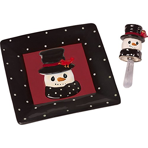 Precious Moments Snow Much Fun by Snowman Holiday Décor Cermaic Cheese Plate And Cheese Spreader, 2-Piece Set, - Snowman Cheese