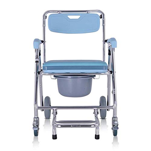 (GJX Folding Commode, Aluminum Alloy Mobile Toilet, Bath Chair/Wheeled Bathroom Shower Chair/Wheelchair)