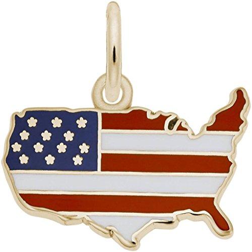 Rembrandt USA Flag Map Charm w/Red, White & Blue Enamel - Metal - 14K Yellow Gold (14k Gold Enamel American Flag)