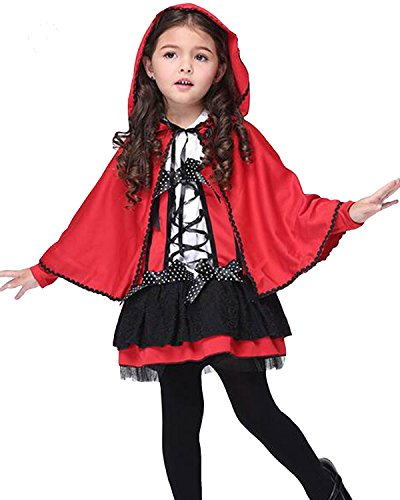 Aifang Happy Halloween Girls Little Red Riding Hood Costume Fancy Dress Party Halloween Outfit For Children Kids L - Red Hood Cosplay Costume For Sale
