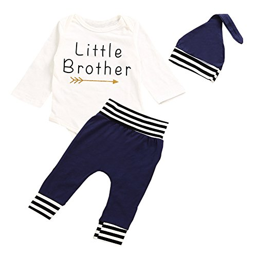 OUTGLE Newborn Baby Boy Little Brother Romper + Blue Stripe Trousers + Hat Clothing Set Autumn Outfits (0-6 Months)