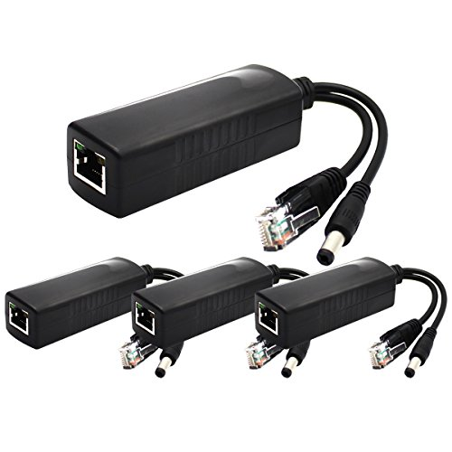 ANVISION 4-Pack 12V DC Output Active PoE Splitter Adapter IEEE 802.3af 10/100Mbps, for IP Camera Wireless AP Router Voip Phone AV-PS12 by ANVISION
