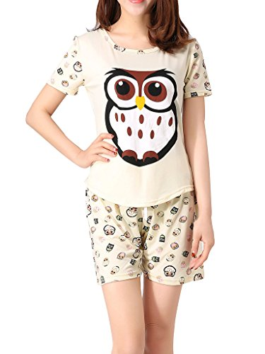 VENTELAN Women's Cute Owl Printed Sleepwear Pajama Sets Comfy Summer Shorts Beige Large(USA - Usa Size 14