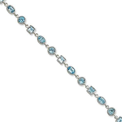 Bracelet Femme-Argent 925/1000-Topaze bleue - 7 mm-Fermoir mousqueton-JewelryWeb