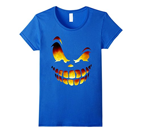 Womens Fire Scary Jack o Lantern Halloween Shirt Costume Ideas 2017 Medium Royal Blue