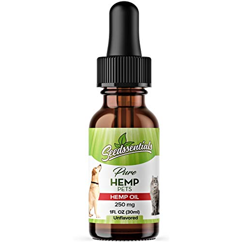 Organic Pet Hemp Oil Drops: Pure, Non-Psychoactive 250 mg Hemp Seed Extract Drops for Dogs & Cats - for Relief of Joint Pain, Separation Anxiety, Stress & to Fight Illnesses in Small Pets - 1 Fl Oz