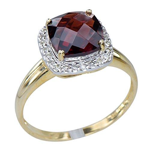 Caratera Fine Gold Jewelry Dazzling Womens Natural Garnet Gemstone 9K Yellow Gold Diamond Jewelry Ring 9k Yellow Gold Garnet Ring