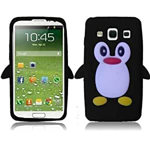 Bloutina Importer520 Cute 3D Penguin Silicone Jelly Skin Case Cover for Samsung Galaxy S4 i9500 i9505 (Black)