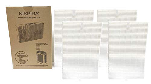 Nispira True HEPA Replacement Filter R for Honeywell Air Purifier Models HPA300, HPA090, HPA100 and HPA200 Compared to HRF-R1 HRF-R2 HRF-R3, 4 Packs