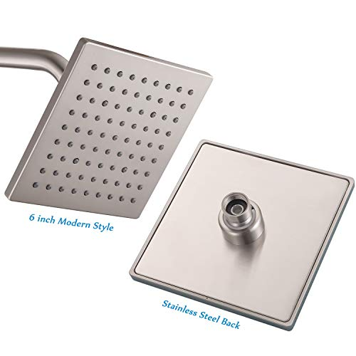 FATCAMEL 6-inch Brushed Nickel Square Rain Shower Head Stainless Steel Back and Brass Swivel Ball Joint