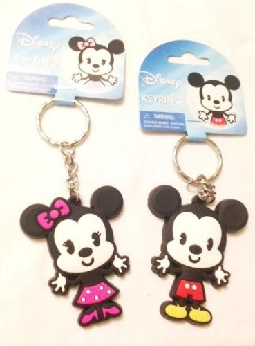 Cute Mickey and Minnie Mouse Baby Soft PVC Keychain Set
