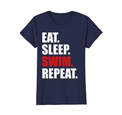 Womens Eat Sleep Swim T-Shirt for Mens Womens Swimming Boys Toddler Small Navy by Eat Sleep Swim Shirts