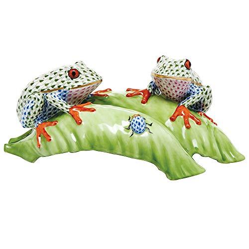 (Herend Tree Frogs On Leaf Figurine Reserve)