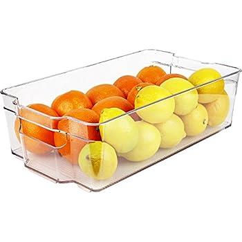 Greenco Refrigerator and Freezer Wide Storage Bin With Handles, 14.8