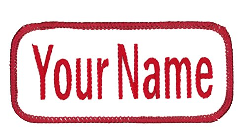 Uniform or work shirt personalized Identification tape Embroidered Sew On or Hook Fastener. WHITE/Red Ariel, SEW ON