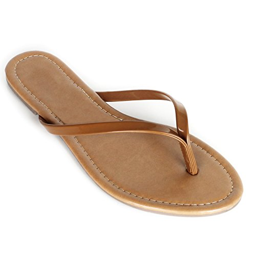 Women's Summer Flat Flip Flops Slip On Sandals Shoes (8, Cognac) (Thong Patent Sandal)