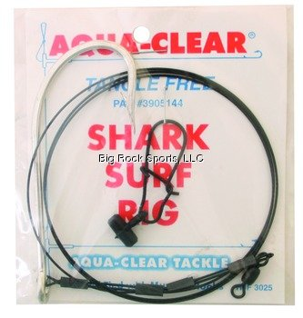 Aqua Clear SH-10 Shark Surf Rig with Fish Finder, 100-Pound, Double Crimped, - Surf Sh