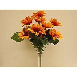 "Phoenix Silk ORANGE Sunflowers Bush Satin 11 Artificial Flowers 19"" Bouquet 4664OR 73"