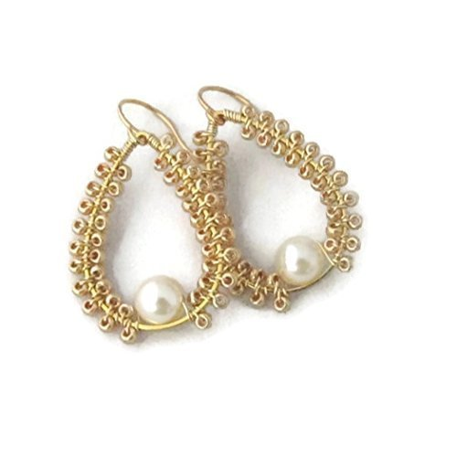 Cream Faux Pearl and Gold Tone Teardrop Earrings Gift for Teen Girl Wife Her Bridal Wedding Bridesmaids -