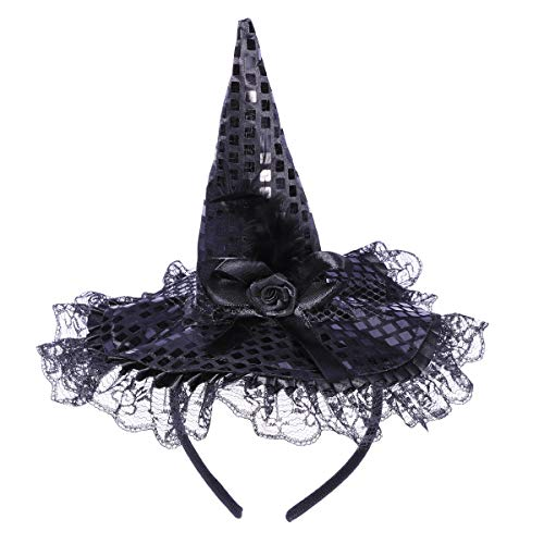 Tinksky Children Halloween Headband Feather Party Witch Hat for Costume Dress up Party Performance Supplies (Black)]()