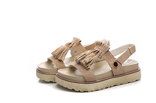 ZPPZZP Mme sandales l'été plat épais un étudiant les fonds meubles terrasse en accord avec le jaune 36EU