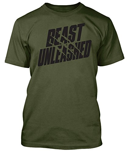 Beast Unleashed Shirt Workout Gym Wear Weightlifting (2XL, Military Green)