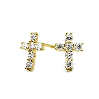 14K Yellow Gold Cross Screwback Stud Earrings from Double Accent