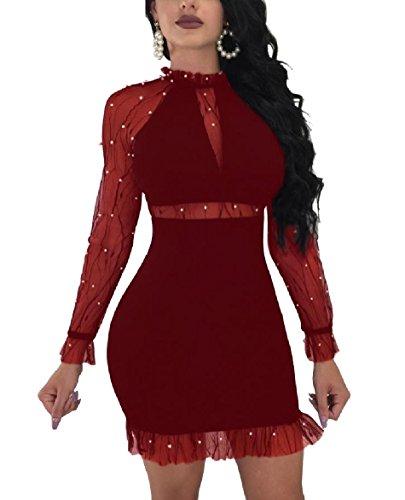 through Garza donne Di Club Vestiti Coolred Perla Mini Abito Rosso Sexy Aderenti Vino See xTfqzq5w