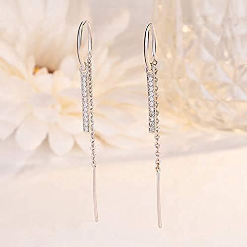 Dangle Earrings Cubic Zirconia Artificial Diamond Drop Thread Dangling Earrings Minimalism Dipped Long Chain Earring