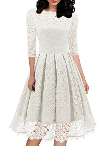 (Floral Lace Dresses for Women's 1940s 50s Style Casual Vintage Half Sleeve Ladies Suits Evening Cocktail Party Swing Special Occasion Attire 595 (XL, White))