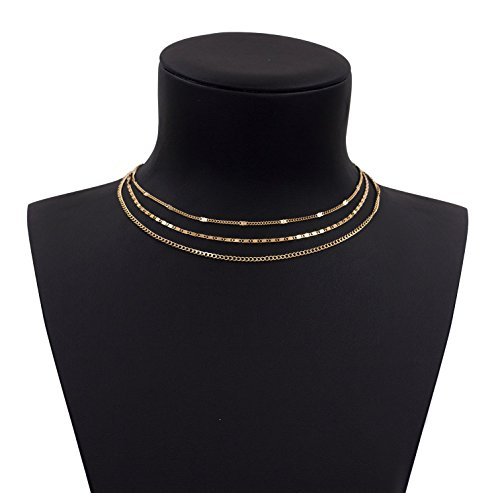 Geerier Layering Choker Necklace Set Simple Design 3 Pcs