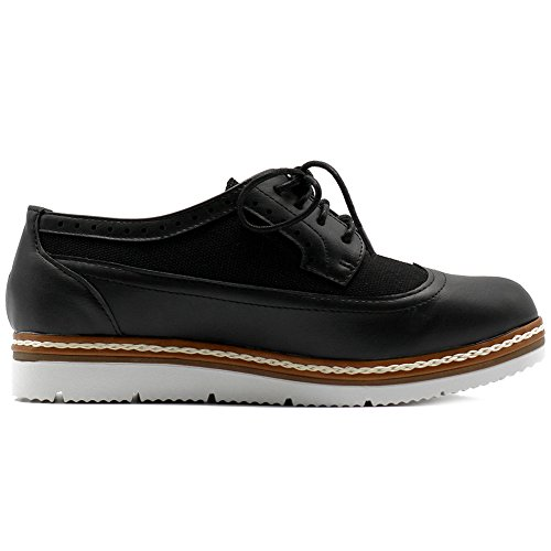 Ollio Womens Shoe Faux Leather Plarform Lace Up Flat Oxfords Black saqOcO