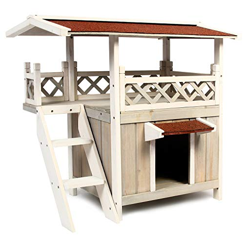 Scurrty Wooden Cat House 2-Story Outdoor Indoor Cat Condo with Stair Waterproof