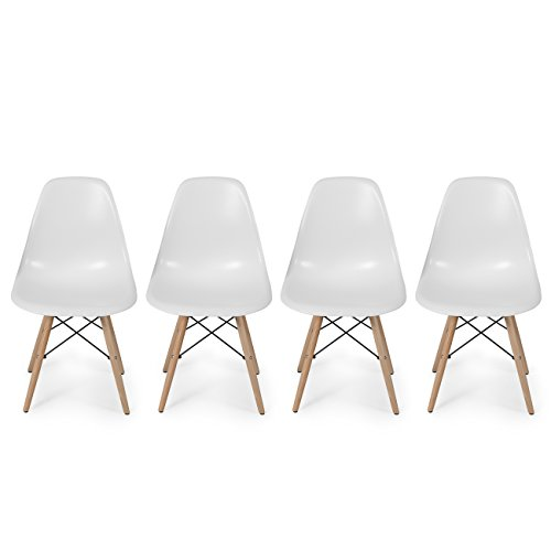 Belleze Set of 4 White – Dowel Mid Century Style Side Chair Natural Wood Legs Eiffel Chair