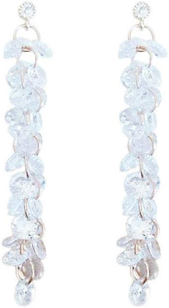 Pendientes Mujer Pendientes de aguja de plata S925, sección larga de cristal, pendientes de racimo de uva, pendientes de mujer