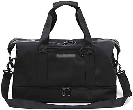 大容量の週末旅行のストレージバッグアウトドアスポーツやフィットネスバックパック多機能ポータブルゴルフの服バッグユニセックススタイル独立シューズ防水 HMMSP (Color : Black)