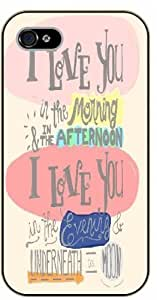 For HTC One M7 Case Cover I love you in the morning and in the afternoon... underneath - Black plastic case / Inspirational and motivational life quotes / AUTHENTIC