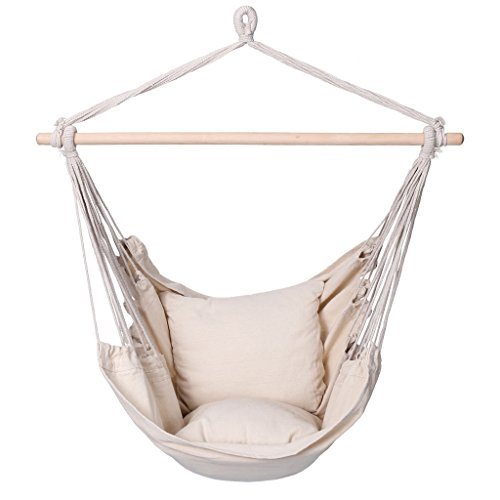 Finether Padded Hammock Hanging Chair Swing with Pillow Set for Indoor Outdoor Use, 265 lbs Weight Capacity, Beige