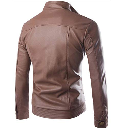 Windproof Sleeve Leather Zipper Men Tomatoa Casual Leather Warm Overcoat Coat Jacket Thick Solid Trench Long Stand Winter Classic Autumn Brown Coat qnarPUYq
