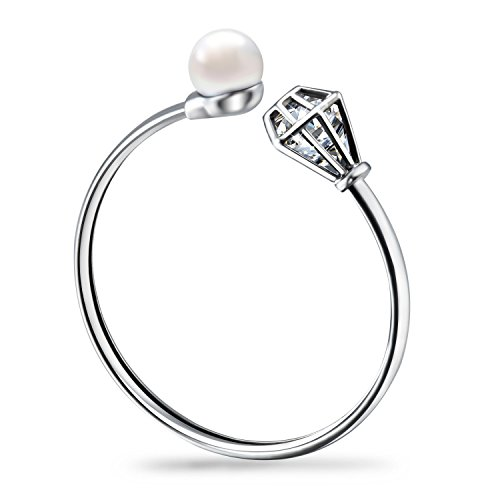 - Morenitor ♥ Mothers Day Gifts ♥ Stainless Steel Cuff Bracelet for Women, Faux Pearl and Crystal
