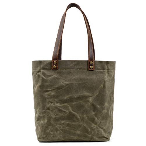WUDON Waxed Canvas Tote Bag for Women - Shoulder Bag with Genuine Leather Strap (Green)