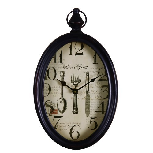 Adeco Black Iron Vintage-Inspired Pocket Watch Style Oval Oblong Wall Hanging Clock Cutlery Detail