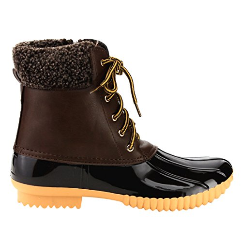 Up Brown Waterproof Stitching Women Duck Boot Side Breeze Insulated 02 Lace Nature Zip z7CqnYSwS